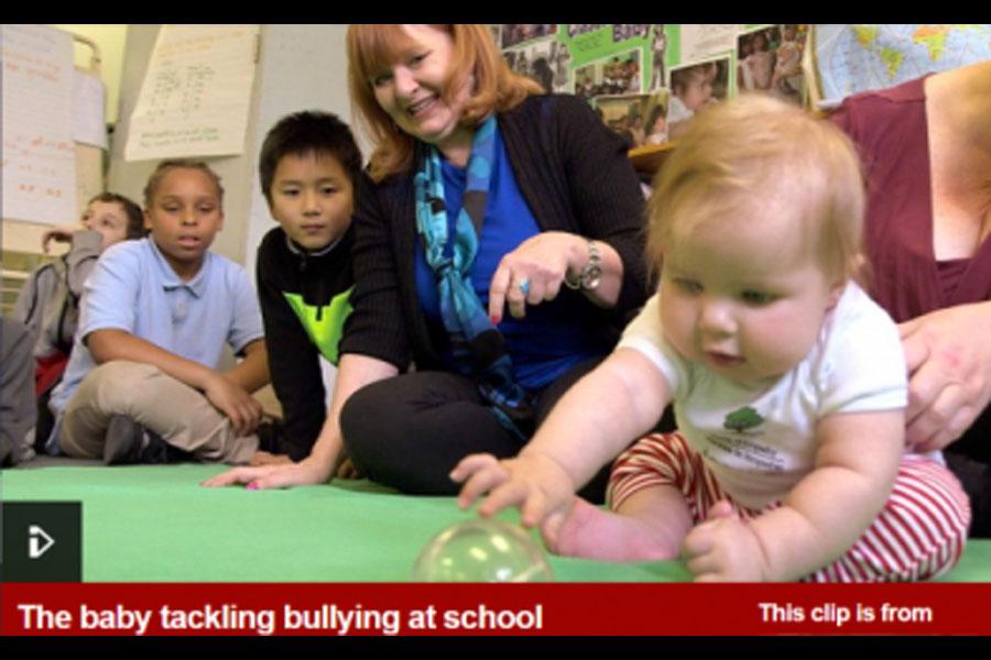 The baby tackling bullying at school